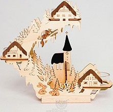 candle holder  with village motif