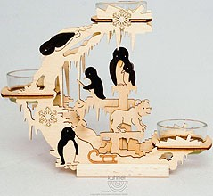 candle holder  with penguins