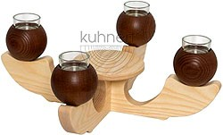 candle holder, 4-armed, brown