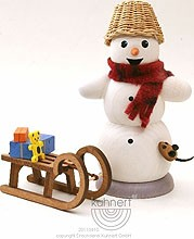 incense smoker, snowman with sledge and mouse
