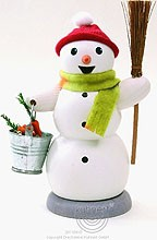 incense smoker, snowman with bucket and brush