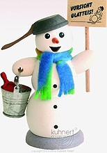 incense smoker, snowman with sign Vorsicht Glatteis