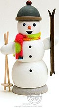 incense smoker, snowman with ski