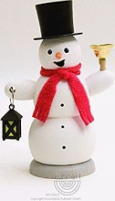 incense smoker, snowman with lantern and bell