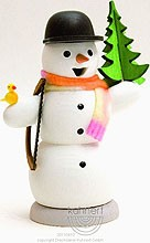 incense smoker, snowman with fir and saw