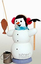 incense smoker, snowman as ice angler