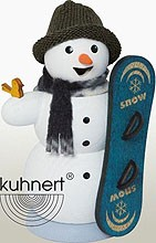 incense smoker, snowman with snowboard