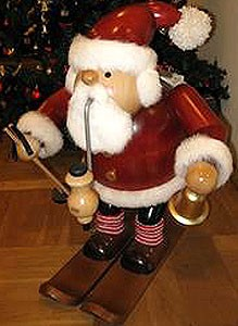 giant-sized incense smoker, Santa Claus with ski