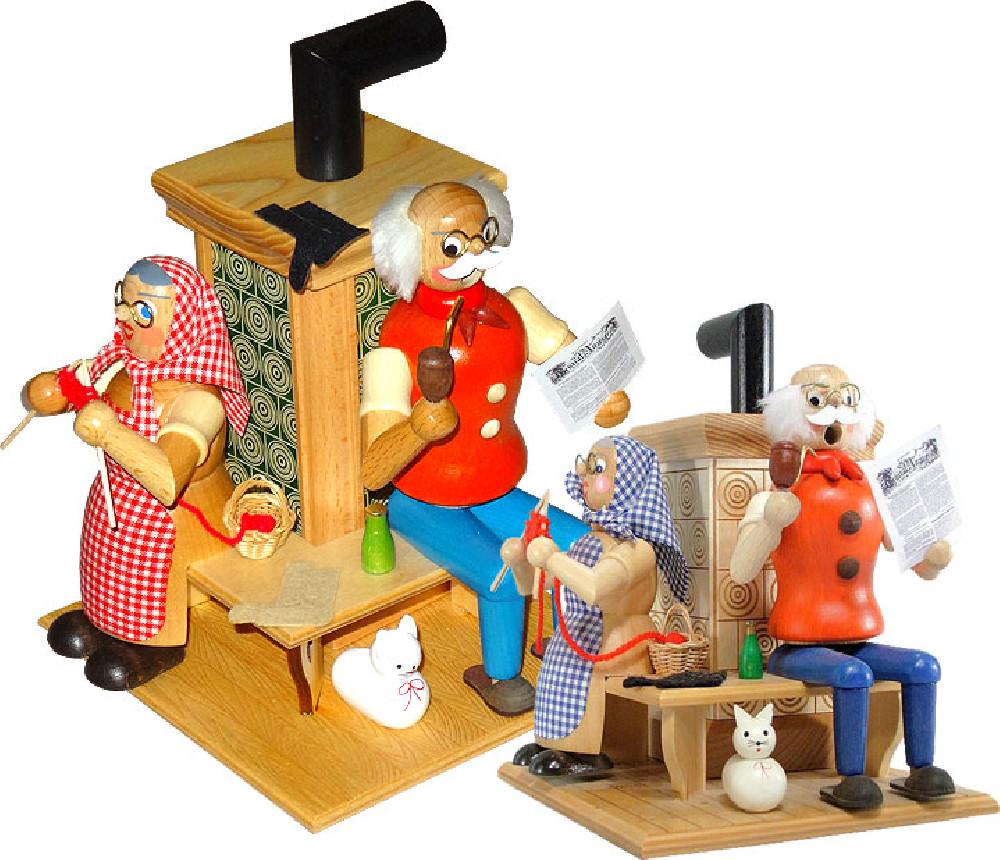 HoDreWa Legler Räuchermann Oma und Opa am Ofen