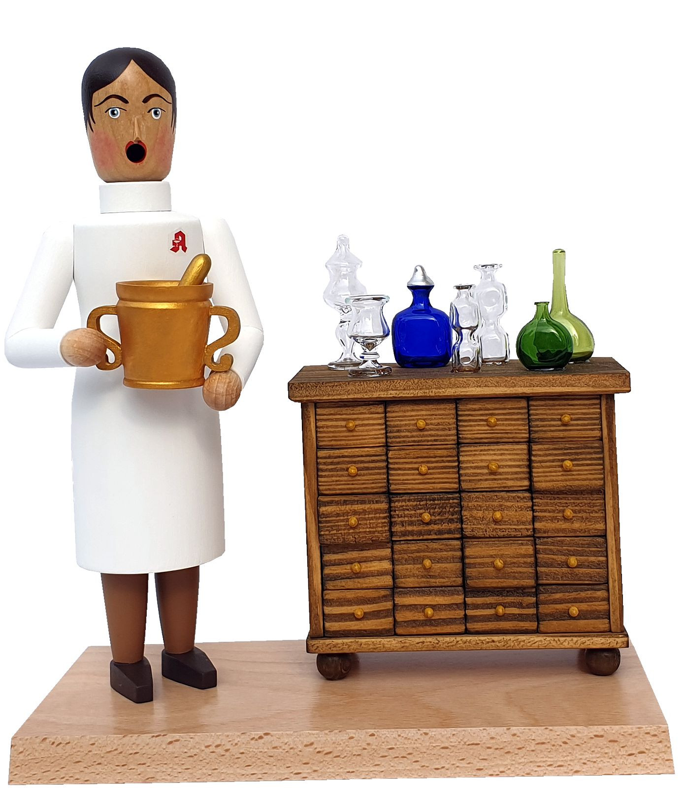 incense smoker Pharmacist with cupboard