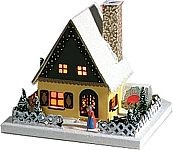 illuminated house, gingerbread house