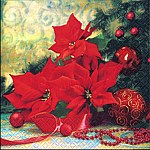 table napkins, poinsettia with tree