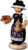 incense smoker, Black Forest woman with smoking pot, large