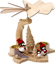 solid wood pyramid snowmen