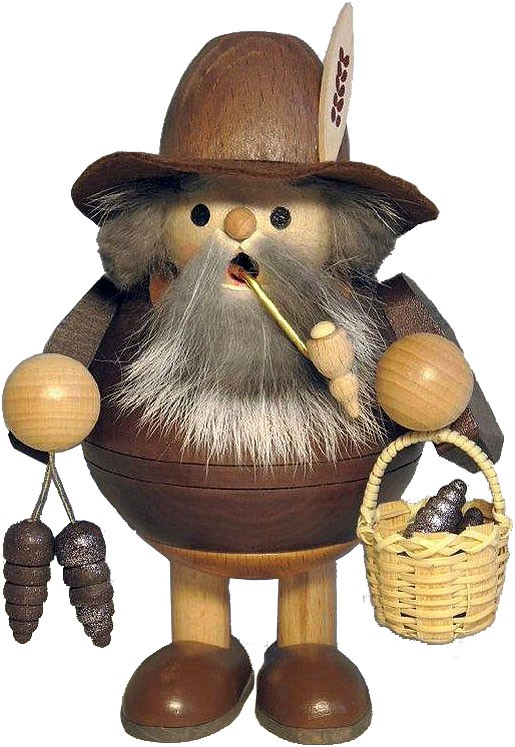 spheric incense smoker, wood gnome with cone, standing