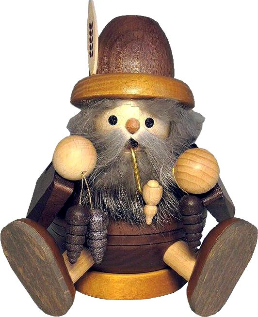 spheric incense smoker, wood gnome with cone, sitting