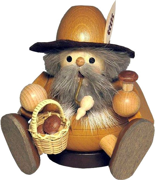 spheric incense smoker, wood gnome with mushrooms, sitting