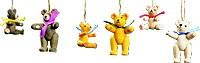 tree ornament, bears 6-part set