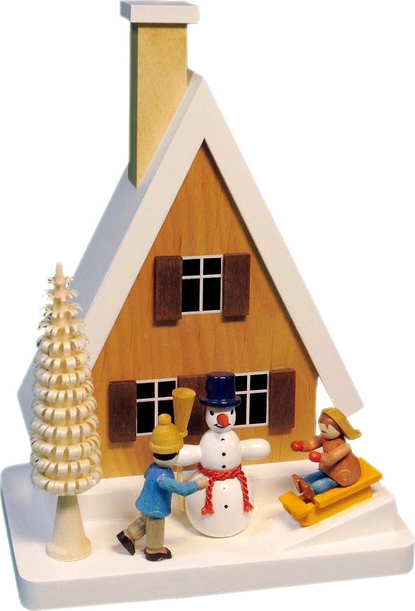 smoker house with snowman