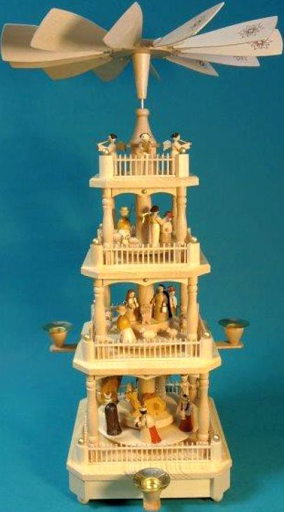 pyramid Nativity, 3-storeyed - natural