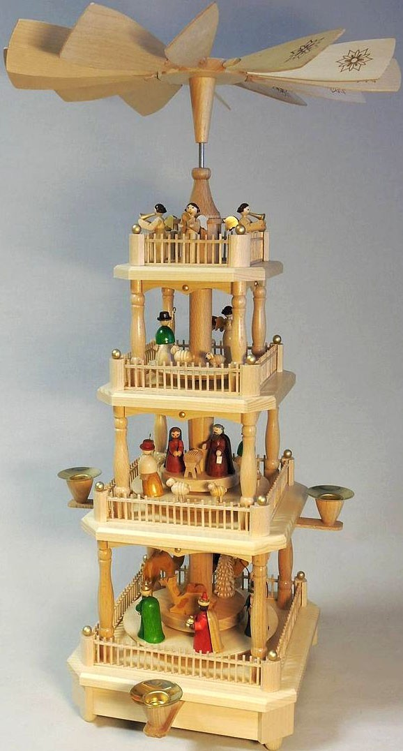 pyramid Nativity, 3-storeyed - coloured