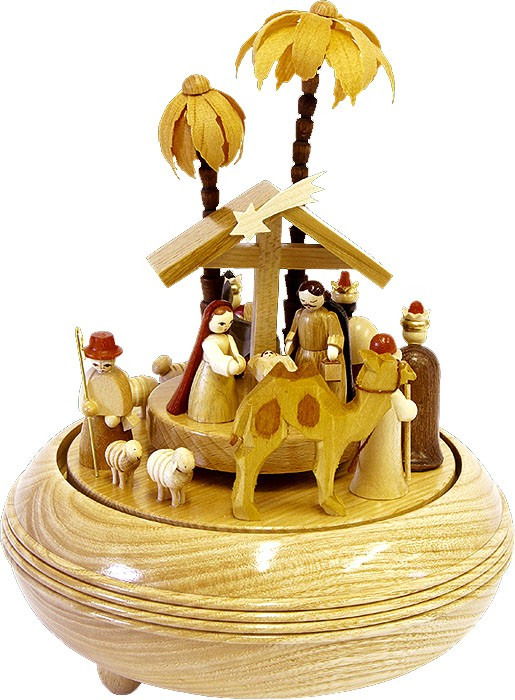 musical box Nativity, natural