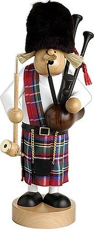 giant-sized incense smoker, Scotsman with bagpipe
