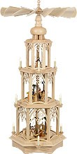 gothic pyramid, simple design - Nativity, electrical, 3-storeyed