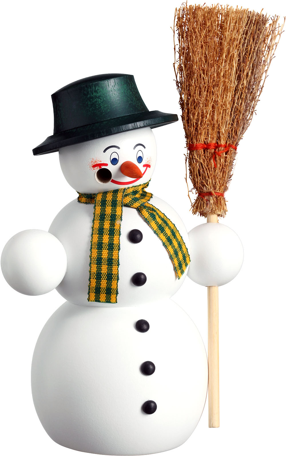 incense smoker, snowman with besom