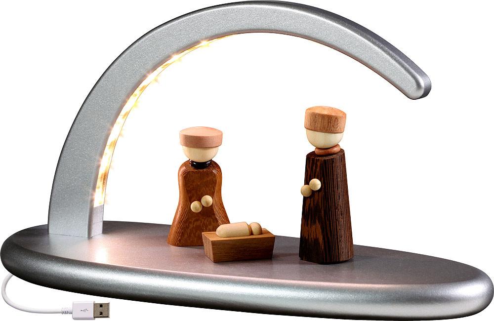 Seiffener Volkskunst eG Lichterbogen Christi Geburt, silber