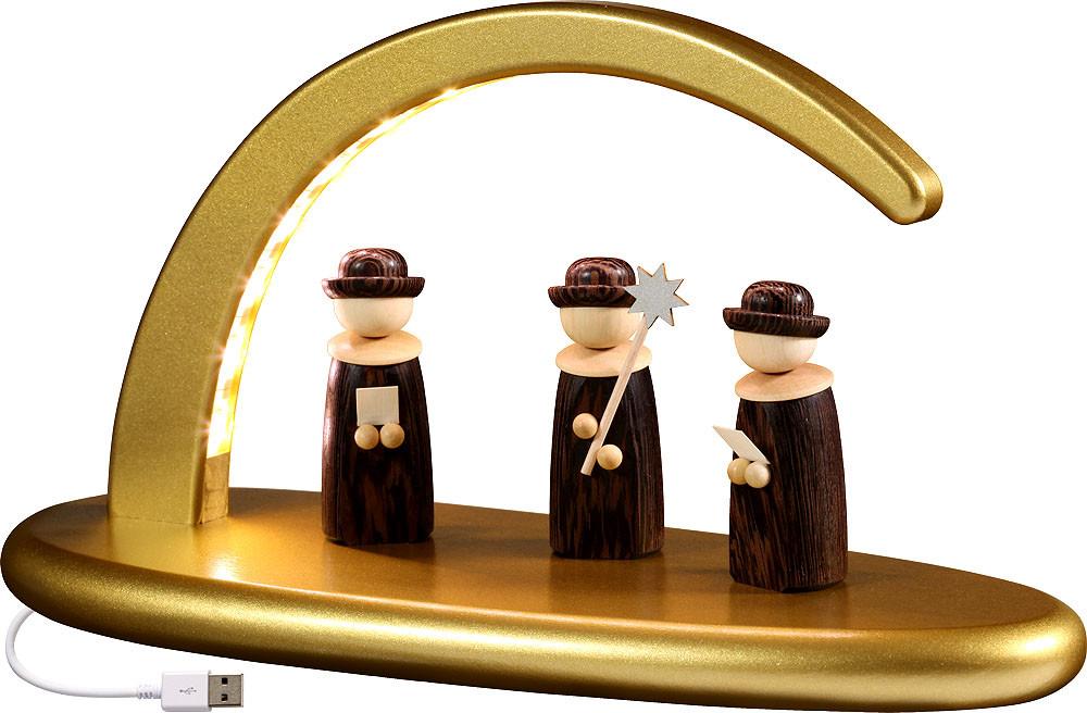 Seiffener Volkskunst eG Lichterbogen Weihnachtssänger, gold
