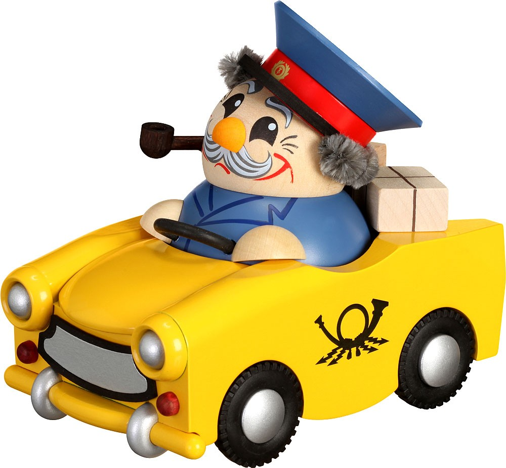 spheric incense smoker, postman in a Trabant -limited