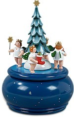 Music box angels with christmas tree