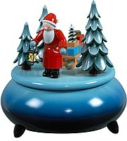 music box Santa with sledge / blue-white