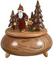music box Santa with sledge / natural