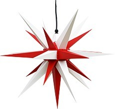 Herrnhuter star A7 for outside, red/white