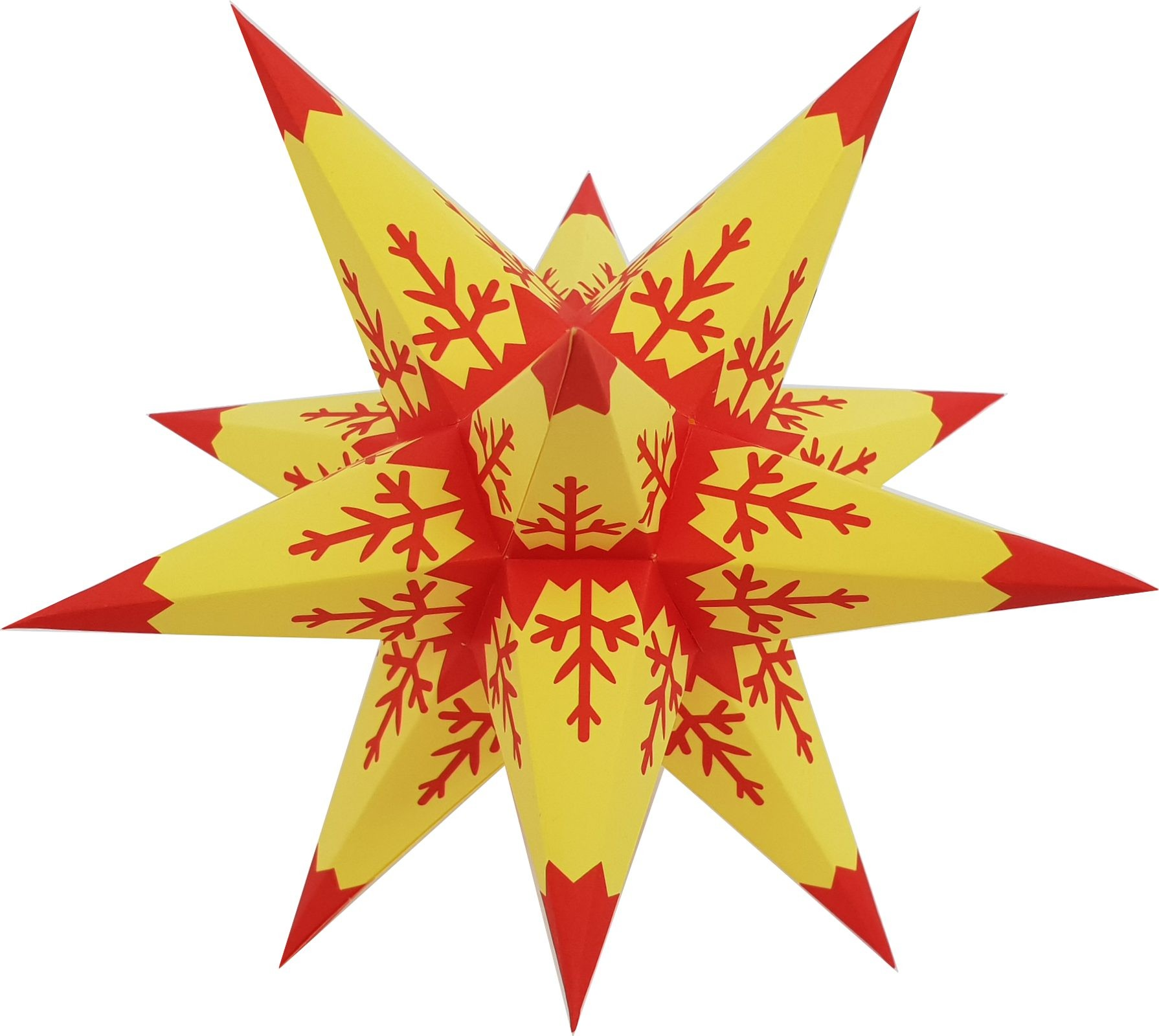 Advent star - yellow core with red pattern and lace