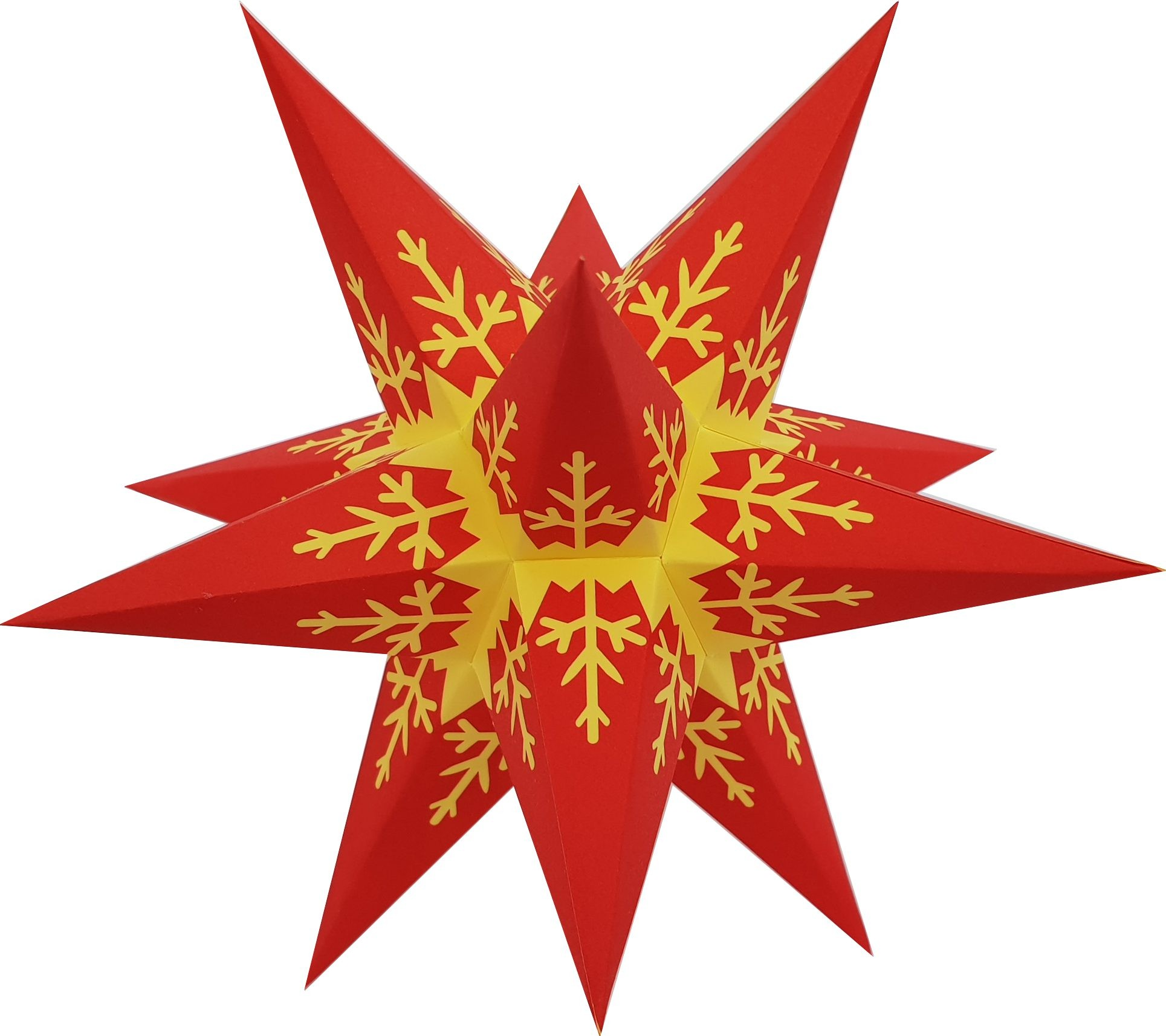 Marienberg Advent stars - red core with yellow pattern