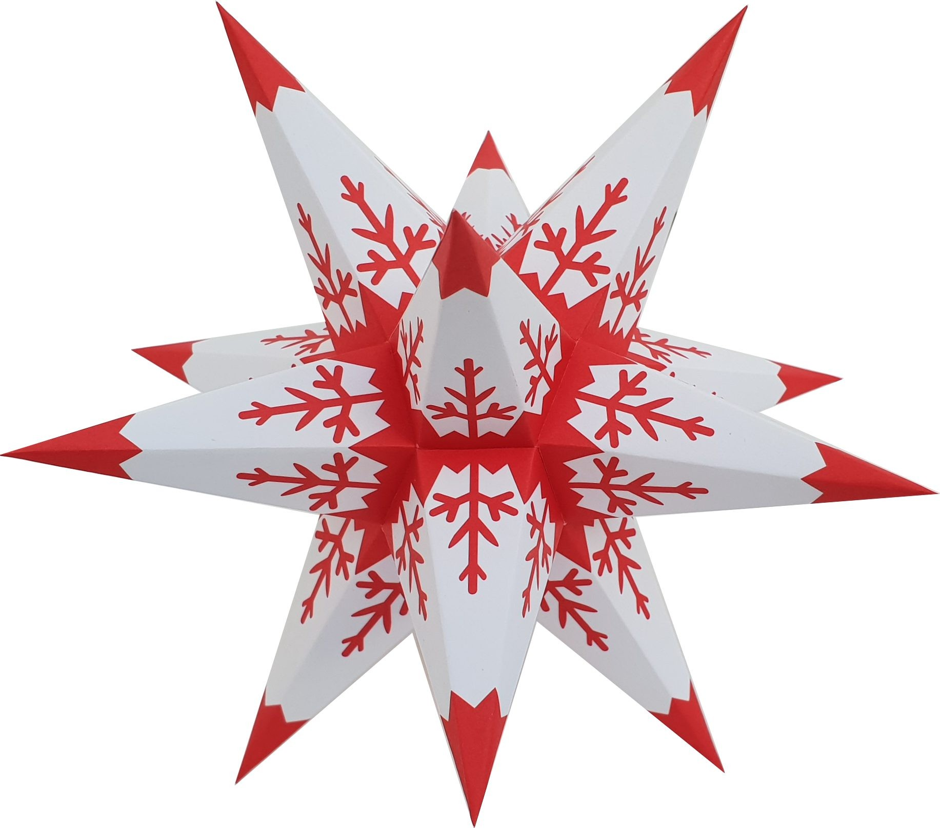 Marienberg Advent stars - white core with red pattern and lace