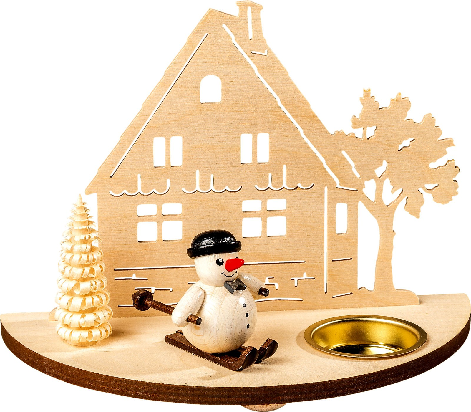 candleholder with figures - snowman, black
