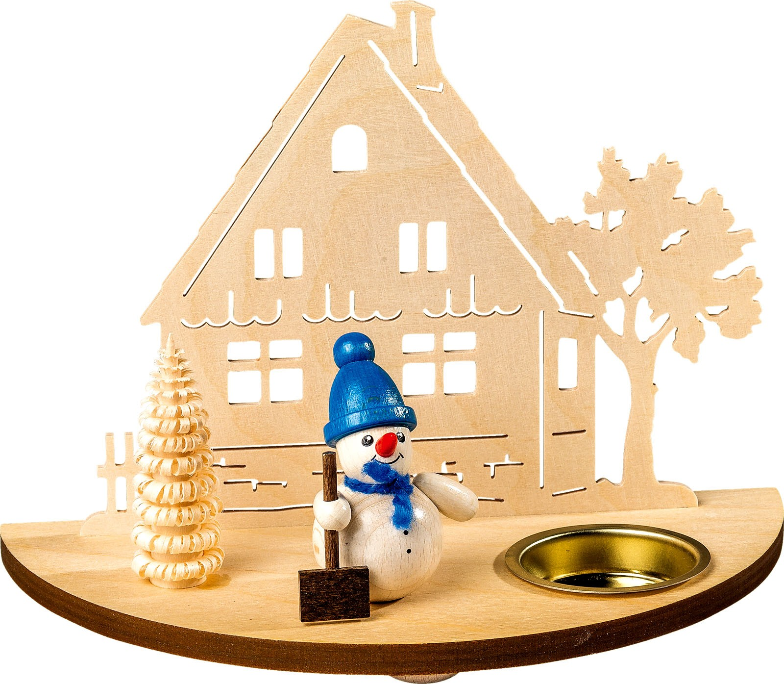 candleholder with figures - snowman, blue
