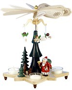 tealight pyramid, angels with Santa