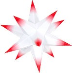 Marienberger Advent star - white core with red peaks