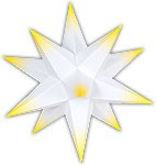 Marienberger Advent star - white core with yellow peaks