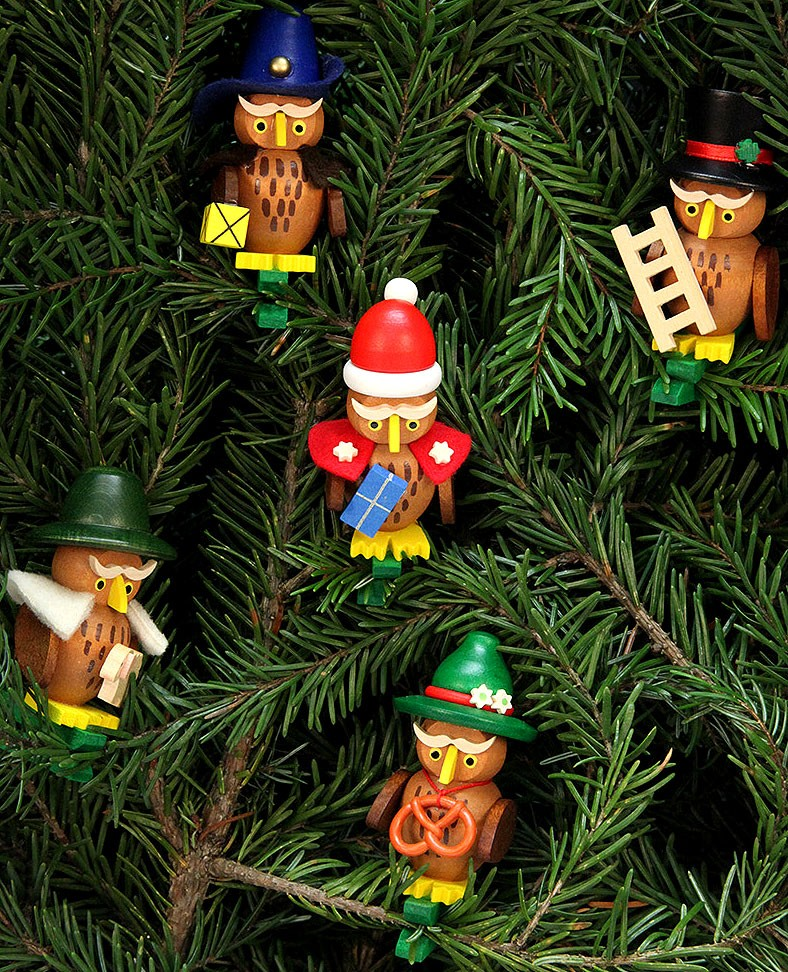 tree-ornament owl assortment on clip