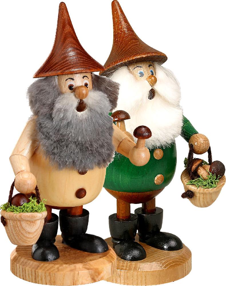 Drechselwerkstatt Uhlig Räuchermann Waldwichtel mit braunem Hut Pilzsammler