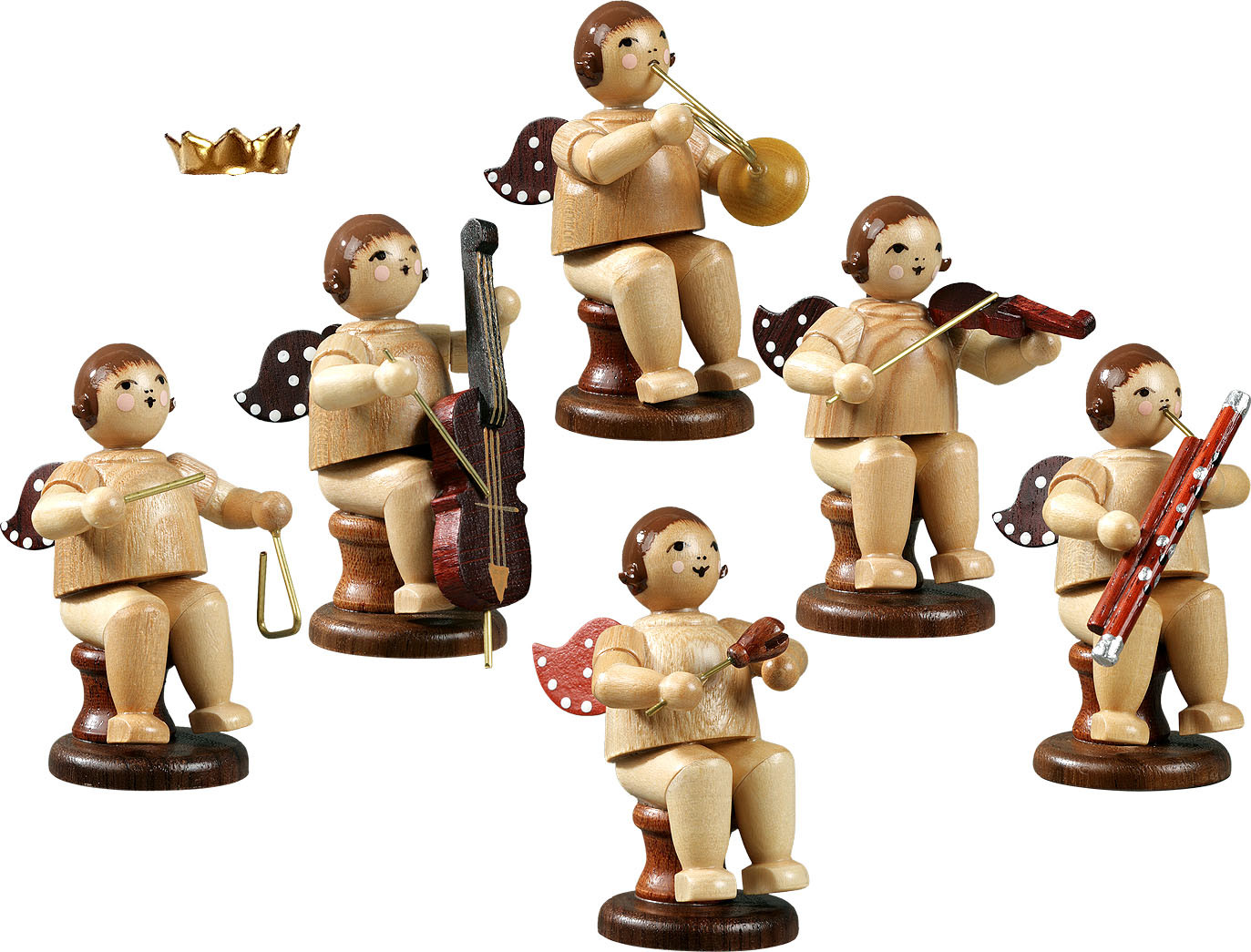 angel musicans, sitting, 6-part, variety 2 - with crown, natural