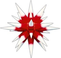 Herrnhuter star, white with red core