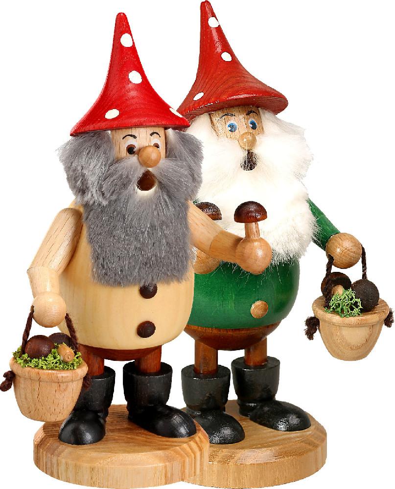 Drechselwerkstatt Uhlig Räuchermann Waldwichtel mit rotem Hut Pilzsammler