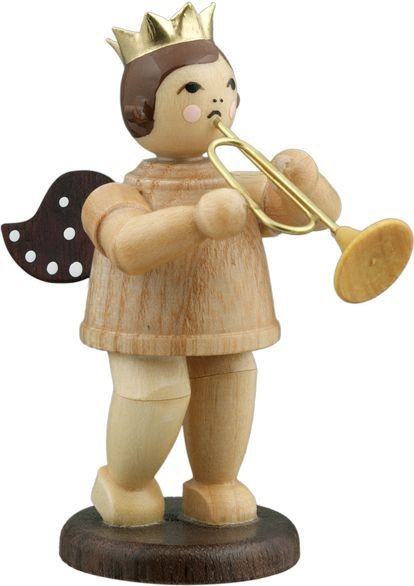 Angel with jazz trumpet Natural with-crown